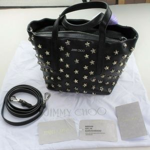 JIMMY CHOO Mini Sara Leather Tote Satin Leather